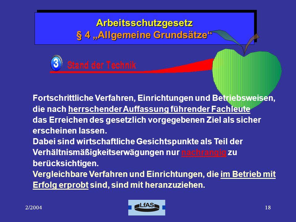 """Arbeitsschutzgesetz § 4 """"Allgemeine Grundsätze"""