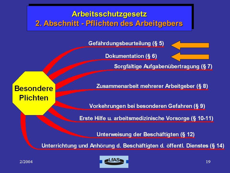 Arbeitsschutzgesetz 2. Abschnitt - Pflichten des Arbeitgebers