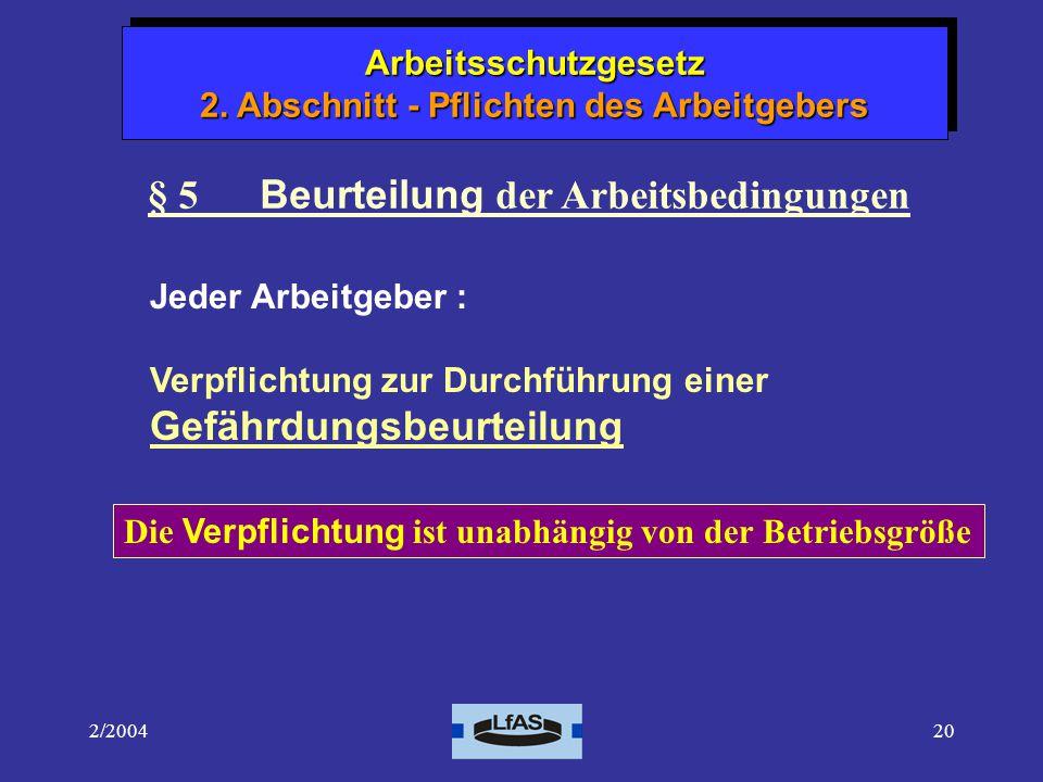 § 5 Beurteilung der Arbeitsbedingungen