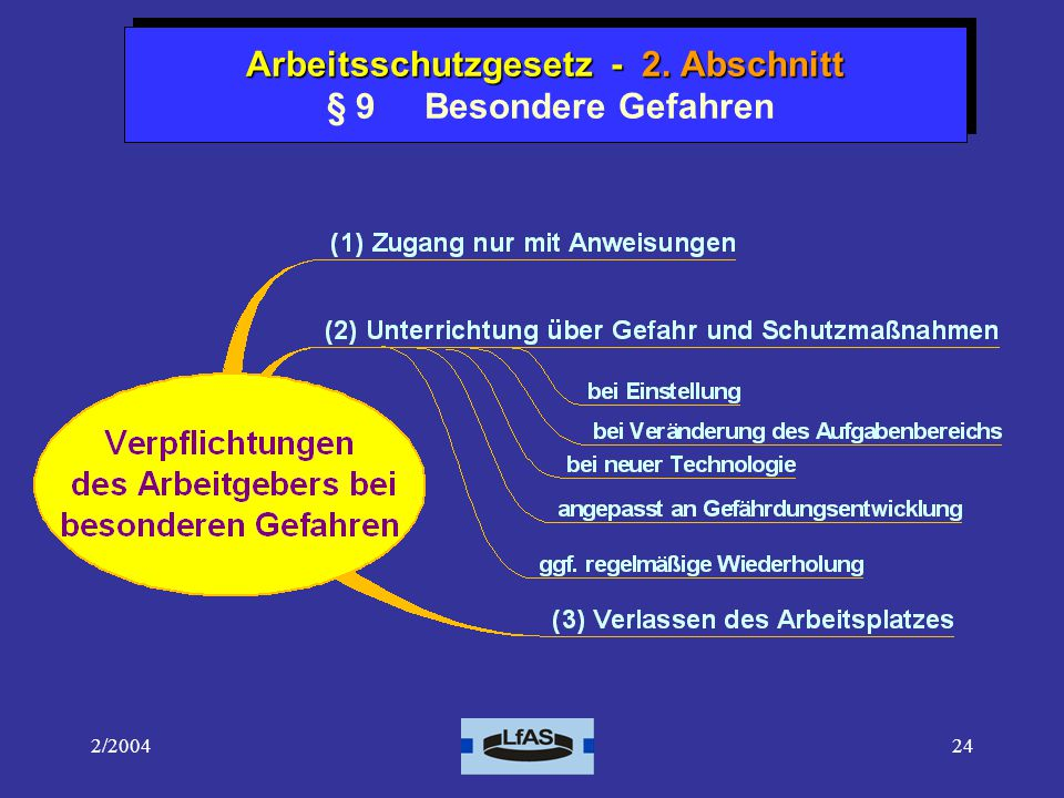 Arbeitsschutzgesetz - 2. Abschnitt § 9 Besondere Gefahren