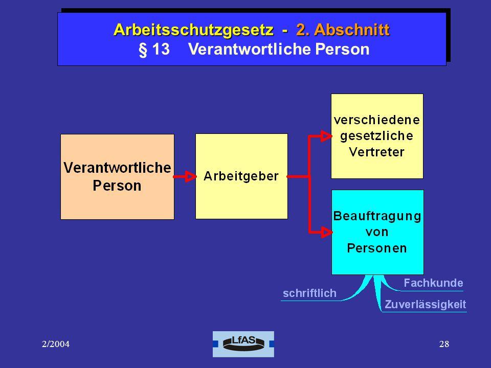 Arbeitsschutzgesetz - 2. Abschnitt § 13 Verantwortliche Person