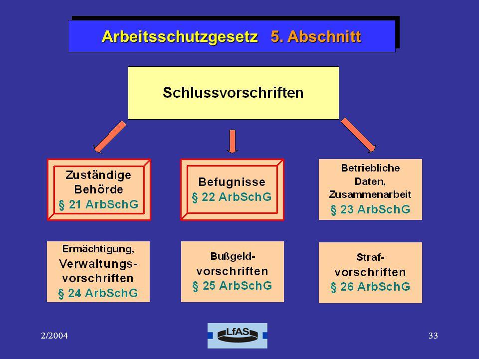 Arbeitsschutzgesetz 5. Abschnitt