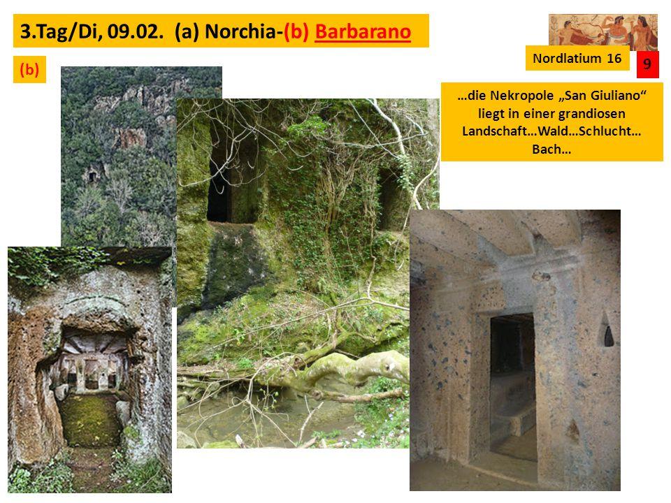 3.Tag/Di, 09.02. (a) Norchia-(b) Barbarano