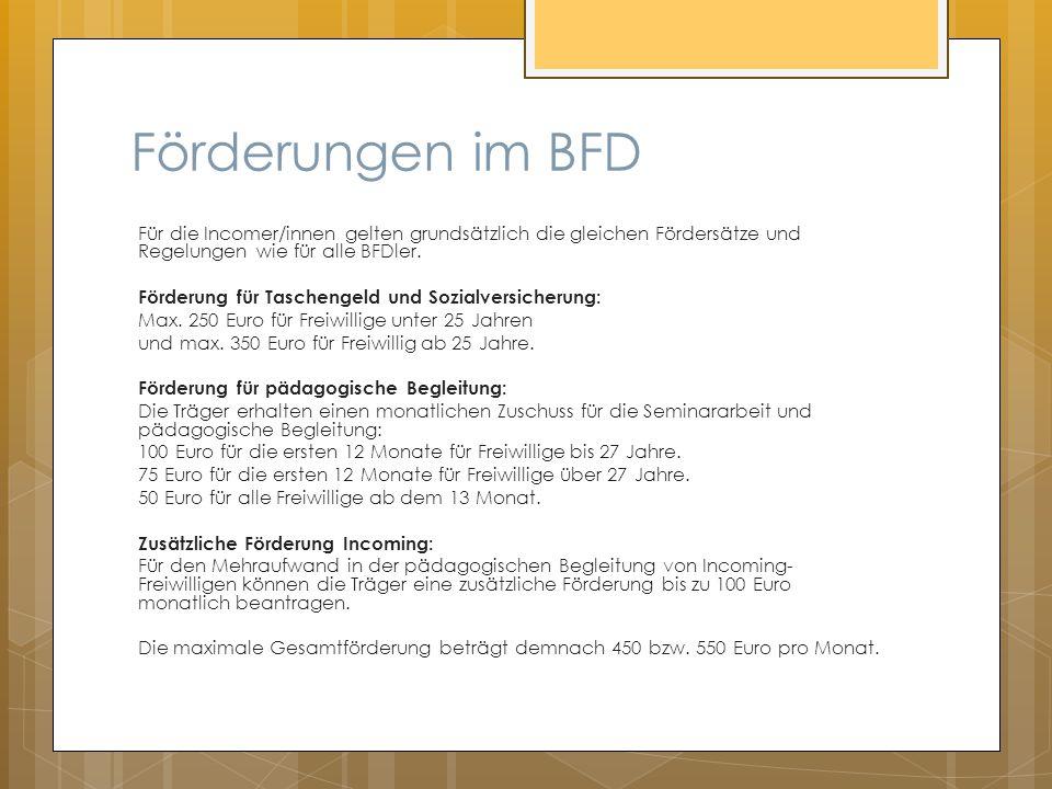 Förderungen im BFD