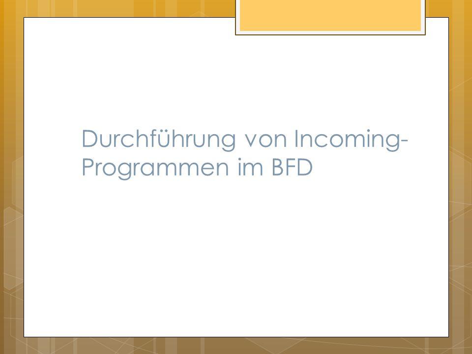 Durchführung von Incoming-Programmen im BFD