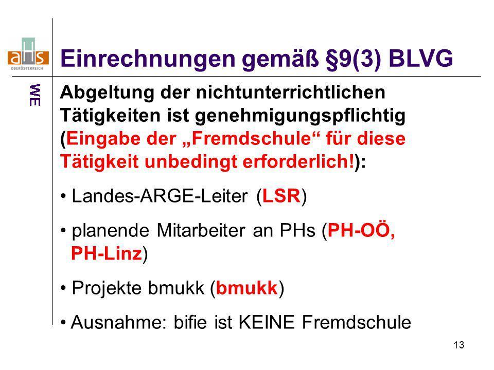 Einrechnungen gemäß §9(3) BLVG