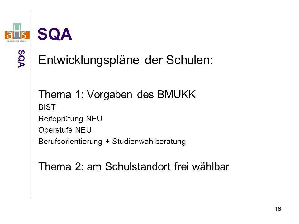 SQA Entwicklungspläne der Schulen: Thema 1: Vorgaben des BMUKK