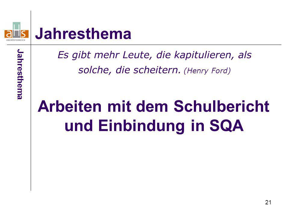 Arbeiten mit dem Schulbericht und Einbindung in SQA