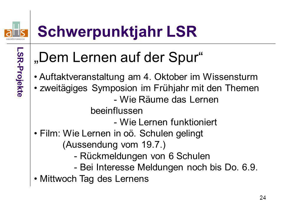 """Schwerpunktjahr LSR """"Dem Lernen auf der Spur"""