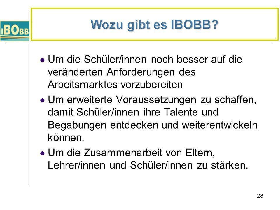 Wozu gibt es IBOBB Um die Schüler/innen noch besser auf die veränderten Anforderungen des Arbeitsmarktes vorzubereiten.