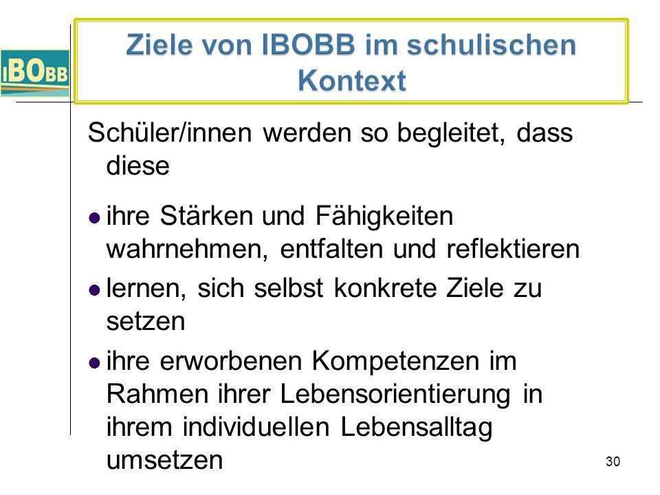 Ziele von IBOBB im schulischen Kontext