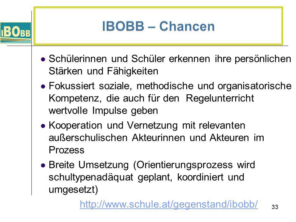 IBOBB – Chancen Schülerinnen und Schüler erkennen ihre persönlichen Stärken und Fähigkeiten.