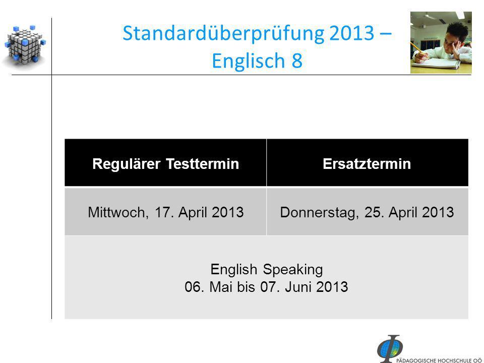 Standardüberprüfung 2013 – Englisch 8