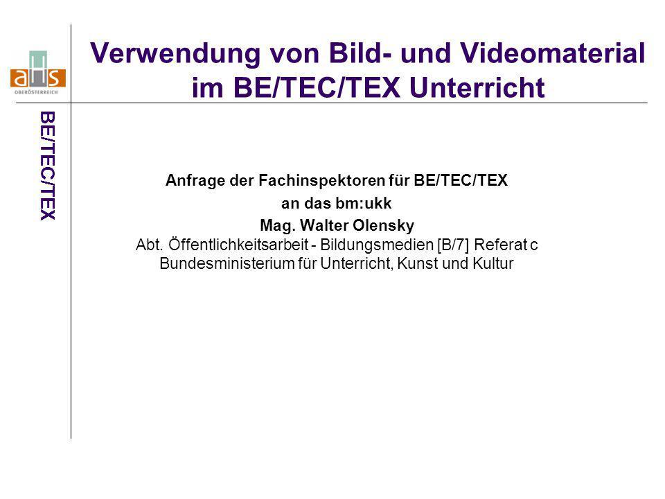 Verwendung von Bild- und Videomaterial im BE/TEC/TEX Unterricht