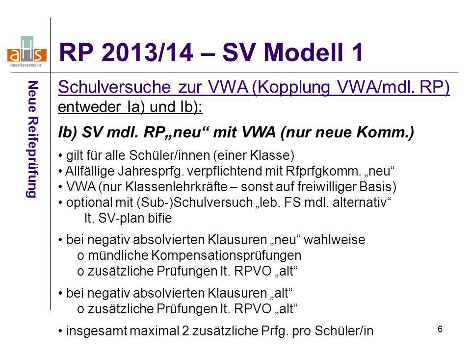 RP 2013/14 – SV Modell 1 Schulversuche zur VWA (Kopplung VWA/mdl. RP)