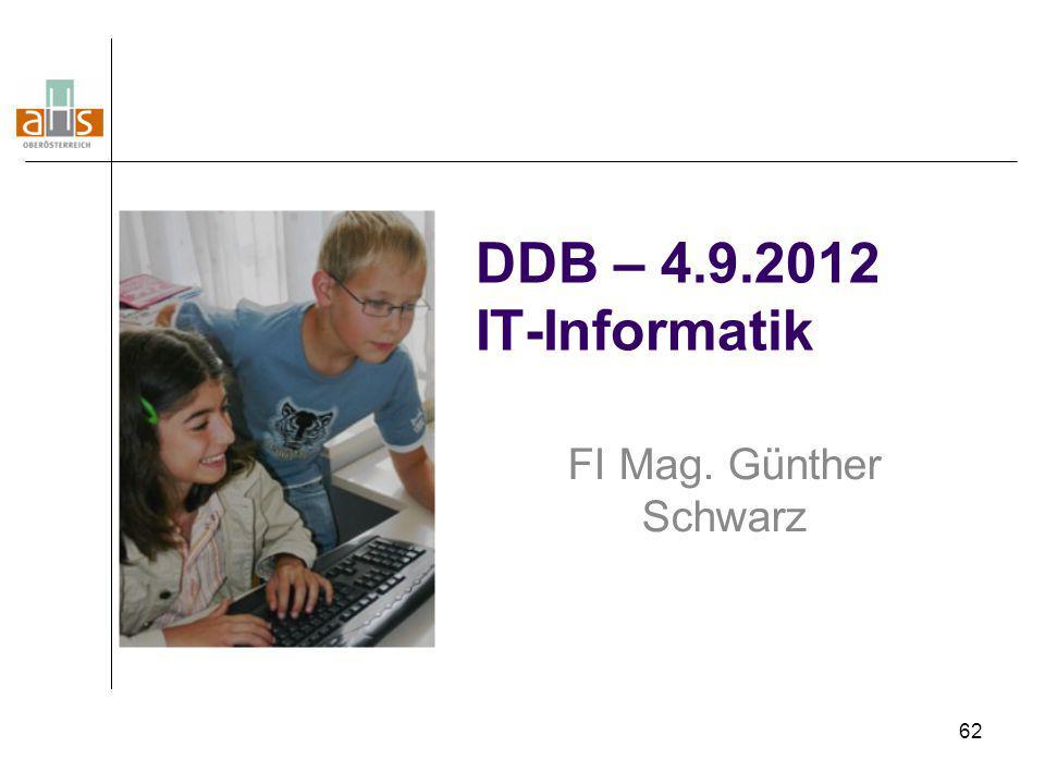 DDB – 4.9.2012 IT-Informatik FI Mag. Günther Schwarz