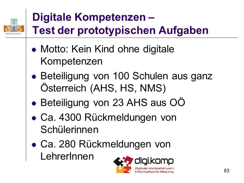 Digitale Kompetenzen – Test der prototypischen Aufgaben