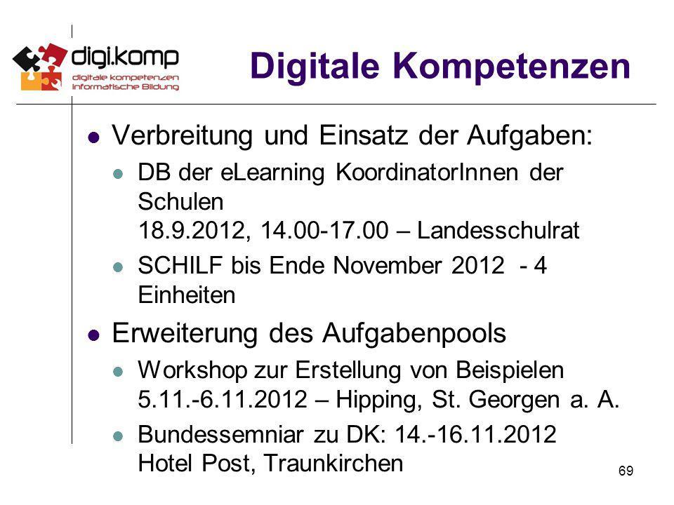 Digitale Kompetenzen Verbreitung und Einsatz der Aufgaben: