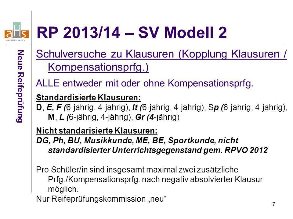 RP 2013/14 – SV Modell 2 Schulversuche zu Klausuren (Kopplung Klausuren / Kompensationsprfg.) ALLE entweder mit oder ohne Kompensationsprfg.