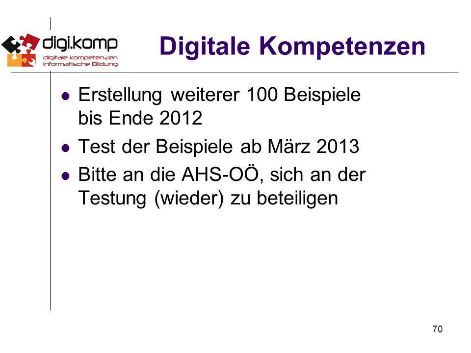 Digitale Kompetenzen Erstellung weiterer 100 Beispiele bis Ende 2012