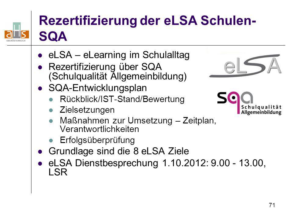 Rezertifizierung der eLSA Schulen-SQA