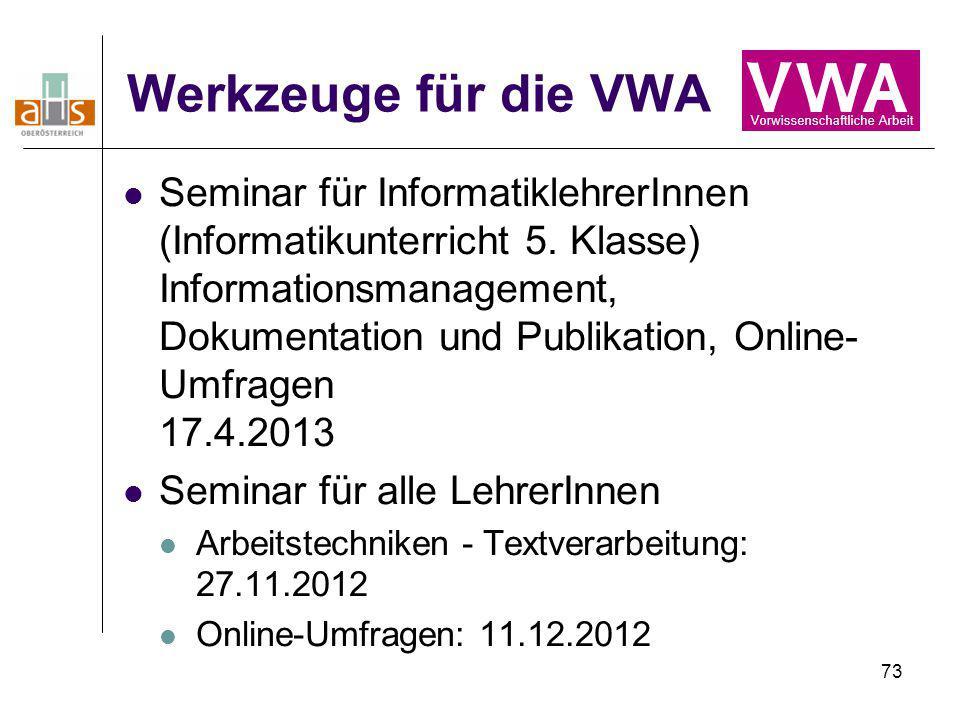 Werkzeuge für die VWA
