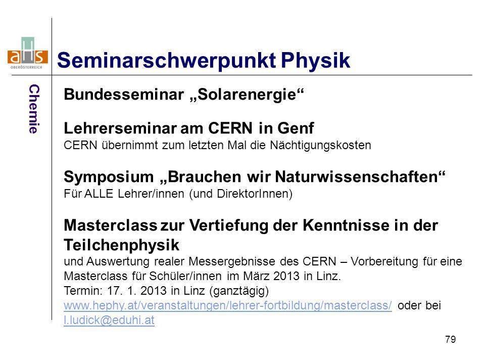 Seminarschwerpunkt Physik