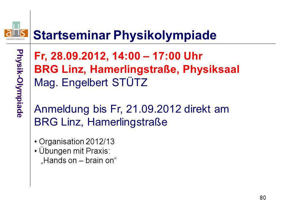 Startseminar Physikolympiade