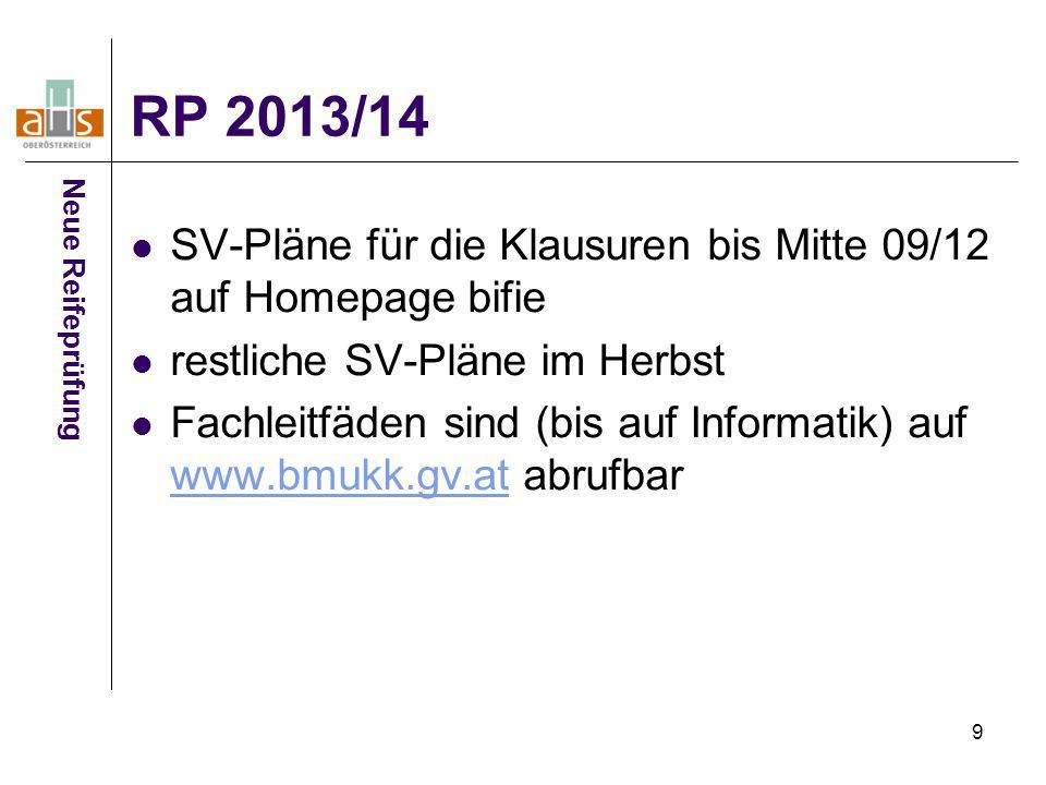 RP 2013/14 Neue Reifeprüfung. SV-Pläne für die Klausuren bis Mitte 09/12 auf Homepage bifie. restliche SV-Pläne im Herbst.