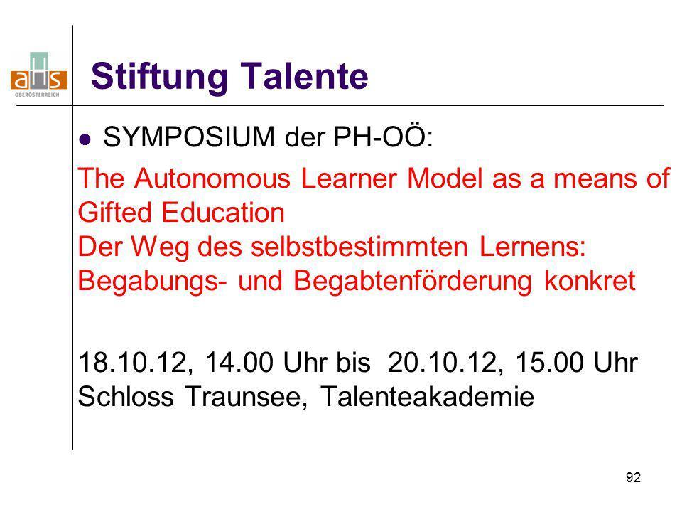 Stiftung Talente SYMPOSIUM der PH-OÖ: