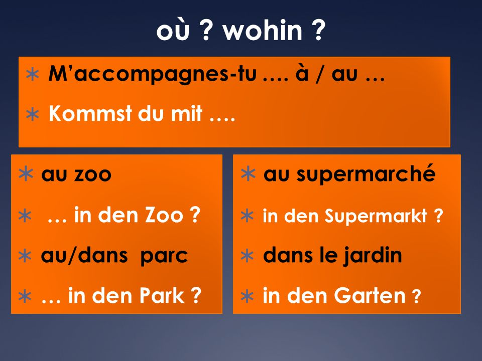 où wohin au zoo au supermarché M'accompagnes-tu …. à / au …