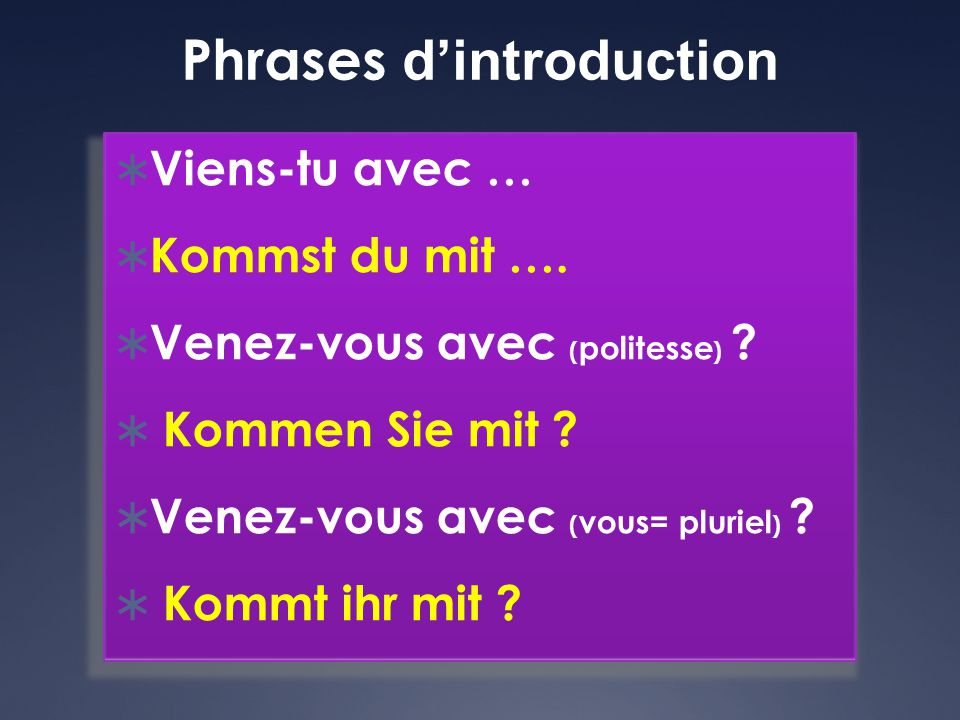 Phrases d'introduction
