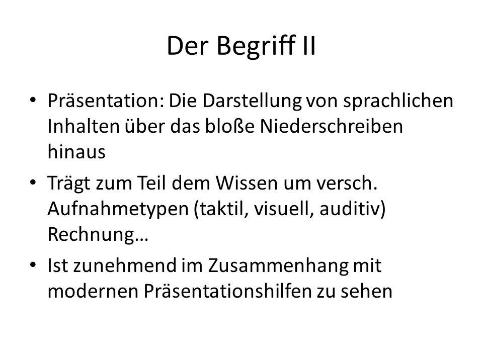 Der Begriff II Präsentation: Die Darstellung von sprachlichen Inhalten über das bloße Niederschreiben hinaus.