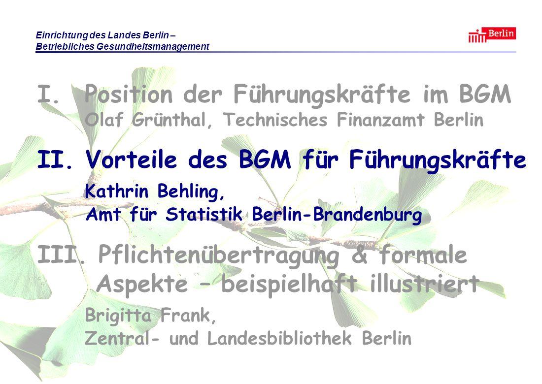 I. Position der Führungskräfte im BGM