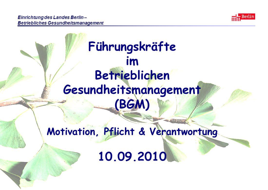 Führungskräfte im Betrieblichen Gesundheitsmanagement (BGM) Motivation, Pflicht & Verantwortung