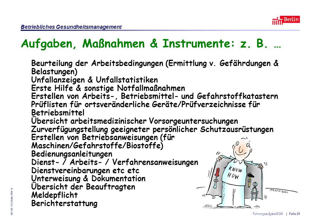 Aufgaben, Maßnahmen & Instrumente: z. B. …