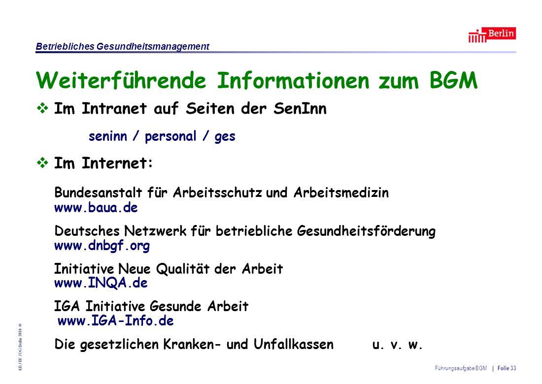 Weiterführende Informationen zum BGM