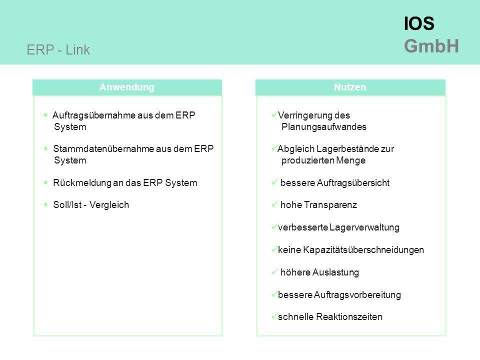 ERP - Link Anwendung Nutzen Auftragsübernahme aus dem ERP System
