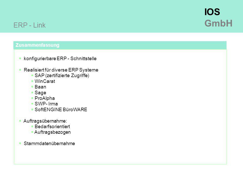 ERP - Link Zusammenfassung konfigurierbare ERP - Schnittstelle