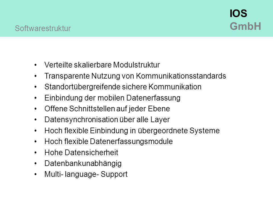 Softwarestruktur Verteilte skalierbare Modulstruktur. Transparente Nutzung von Kommunikationsstandards.