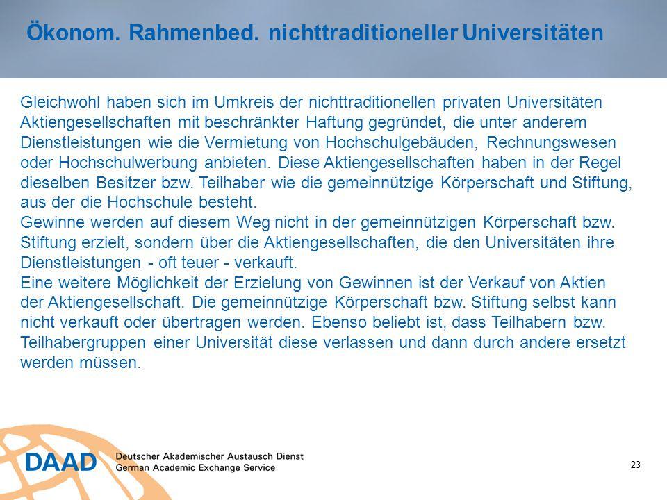 Ökonom. Rahmenbed. nichttraditioneller Universitäten
