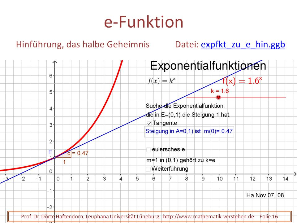 e-Funktion Hinführung, das halbe Geheimnis Datei: expfkt_zu_e_hin.ggb
