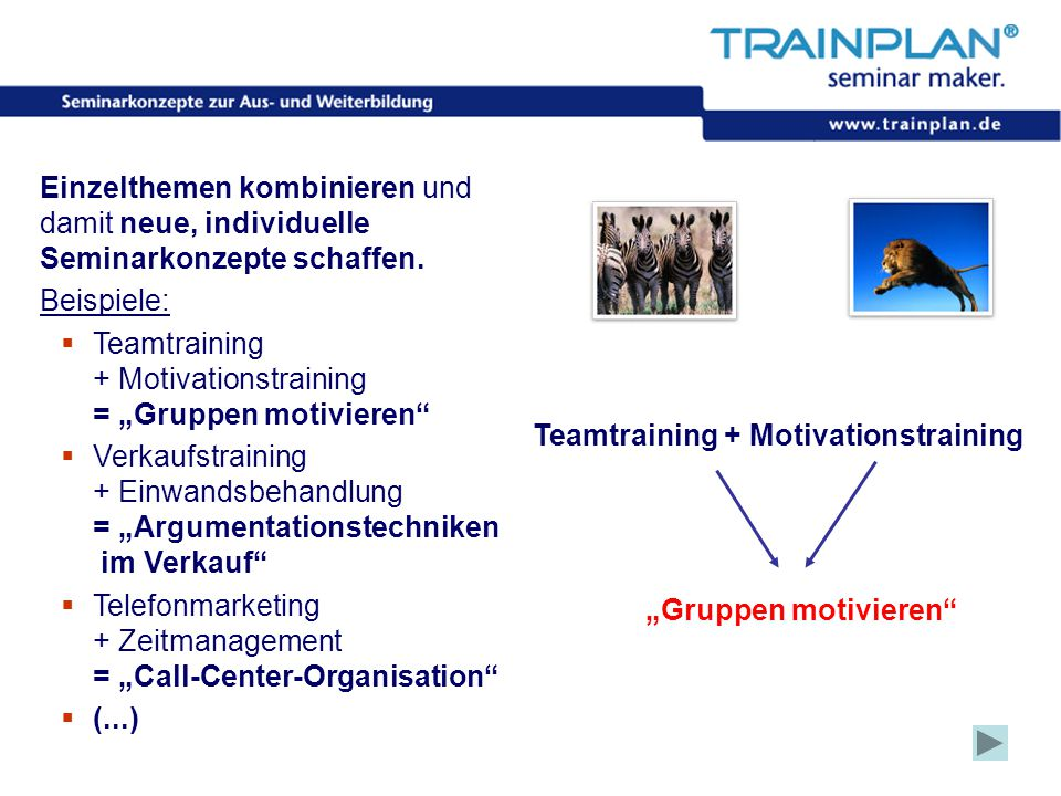 "Teamtraining + Motivationstraining = ""Gruppen motivieren"
