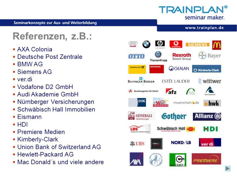 Referenzen, z.B.: AXA Colonia Deutsche Post Zentrale BMW AG Siemens AG