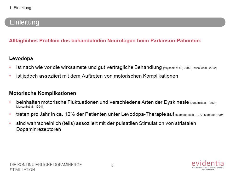 1. Einleitung Einleitung. Alltägliches Problem des behandelnden Neurologen beim Parkinson-Patienten: