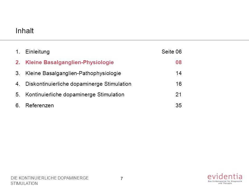 Inhalt Einleitung Seite 06 Kleine Basalganglien-Physiologie 08