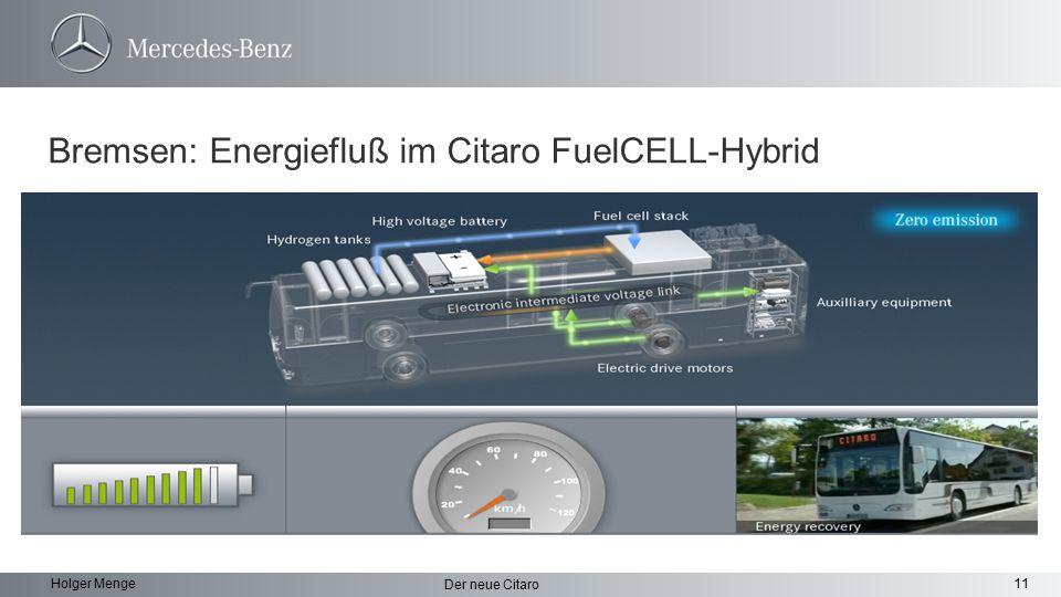 Bremsen: Energiefluß im Citaro FuelCELL-Hybrid