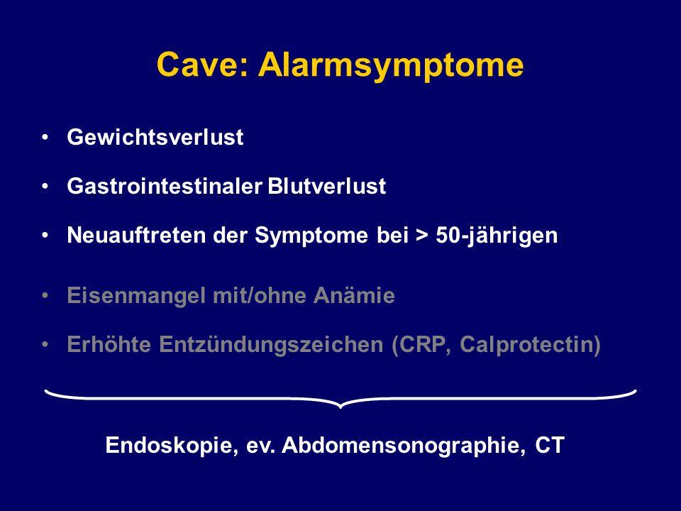 Endoskopie, ev. Abdomensonographie, CT