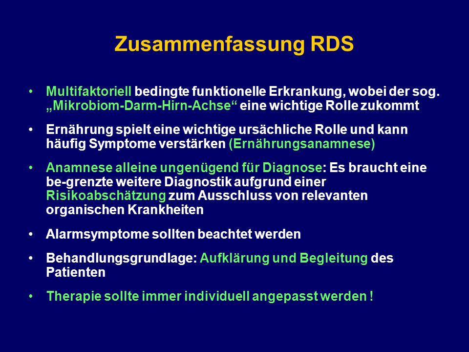 """Zusammenfassung RDS Multifaktoriell bedingte funktionelle Erkrankung, wobei der sog. """"Mikrobiom-Darm-Hirn-Achse eine wichtige Rolle zukommt."""