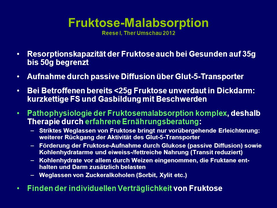 Fruktose-Malabsorption Reese I, Ther Umschau 2012